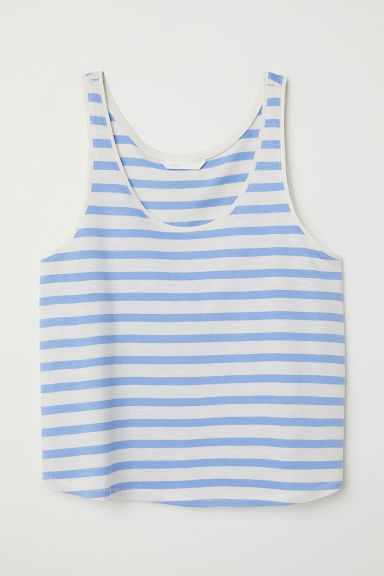 Cropped vest top - Light blue/White striped - Ladies | H&M