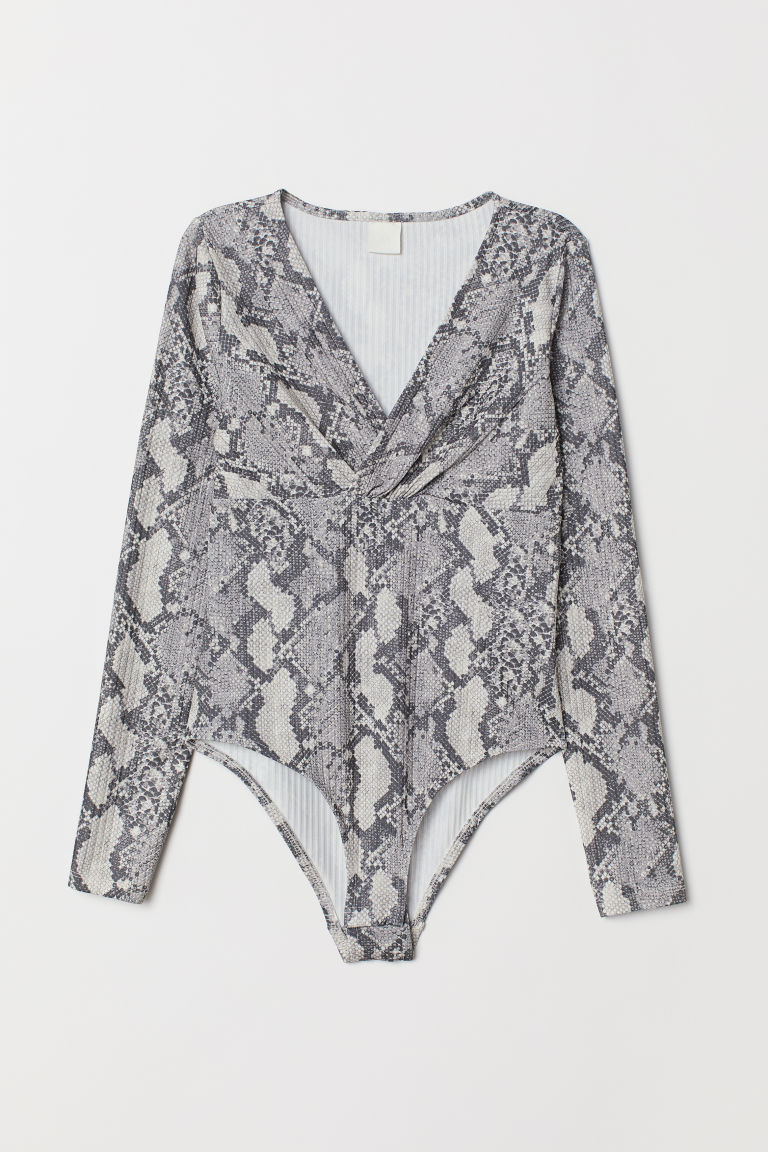 V-neck body - Grey/Snakeskin-patterned - Ladies | H&M CN