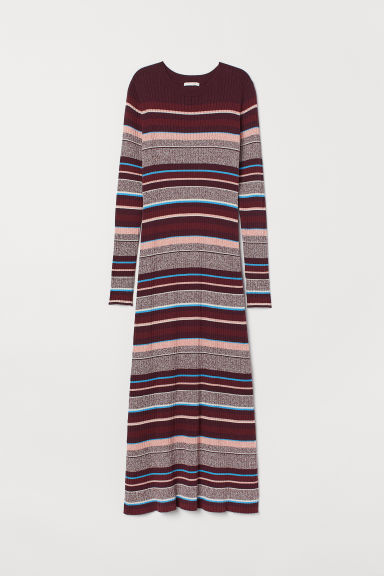 Ribbed dress - Burgundy/Striped -  | H&M