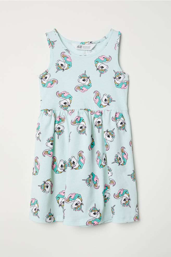 e44bb3e1c8cc9 Sleeveless Jersey Dress - Mint green/unicorns - Kids | H&M ...