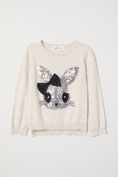 Jumper with a sequined motif - Light beige/Rabbit - Kids | H&M