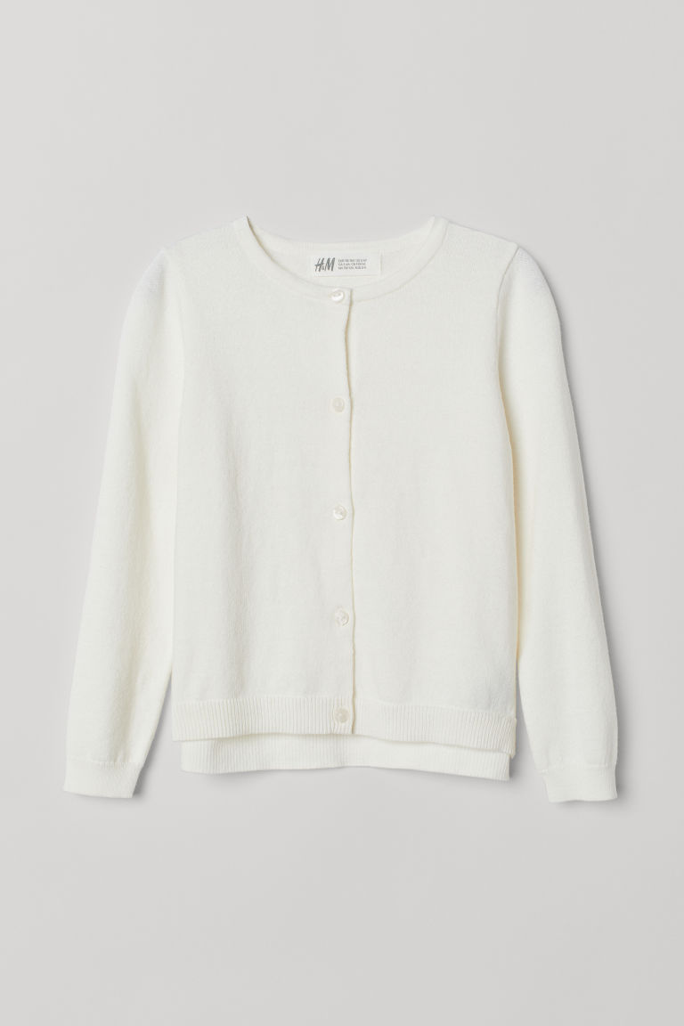 Knitted cotton cardigan - White - Kids | H&M CN