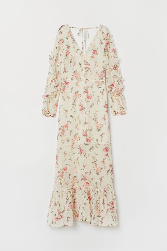 ecaa59a4e1fb0 Long V-neck dress - Natural white Floral - Ladies