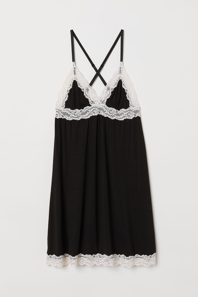 Modal nightdress - Black/White - Ladies | H&M CN