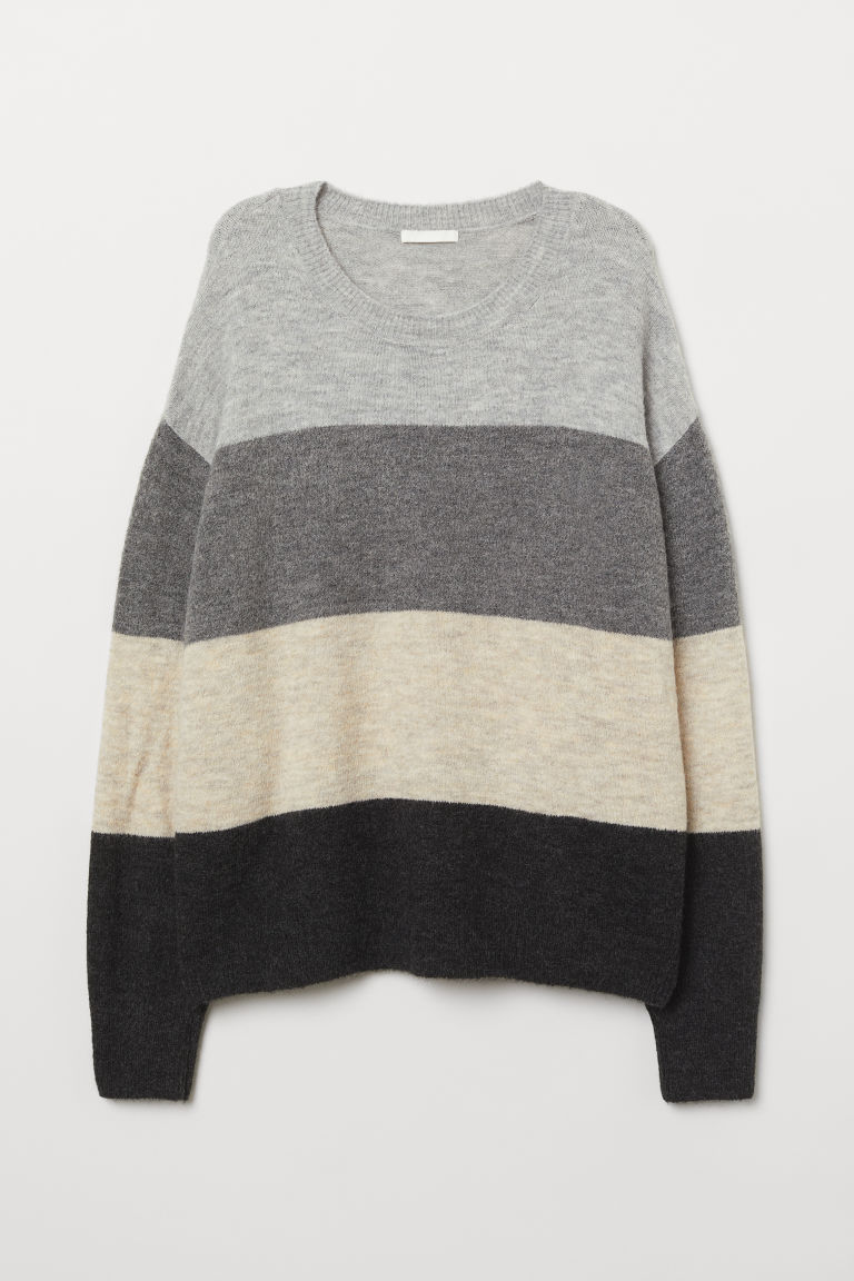 Knitted jumper - Light grey/Block-striped - Ladies | H&M
