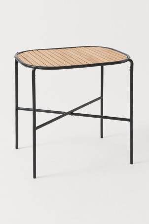 Metal and oak table
