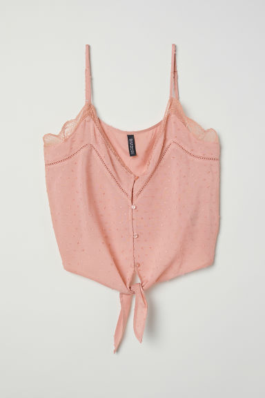 V-neck strappy top with lace - Vintage pink - Ladies | H&M