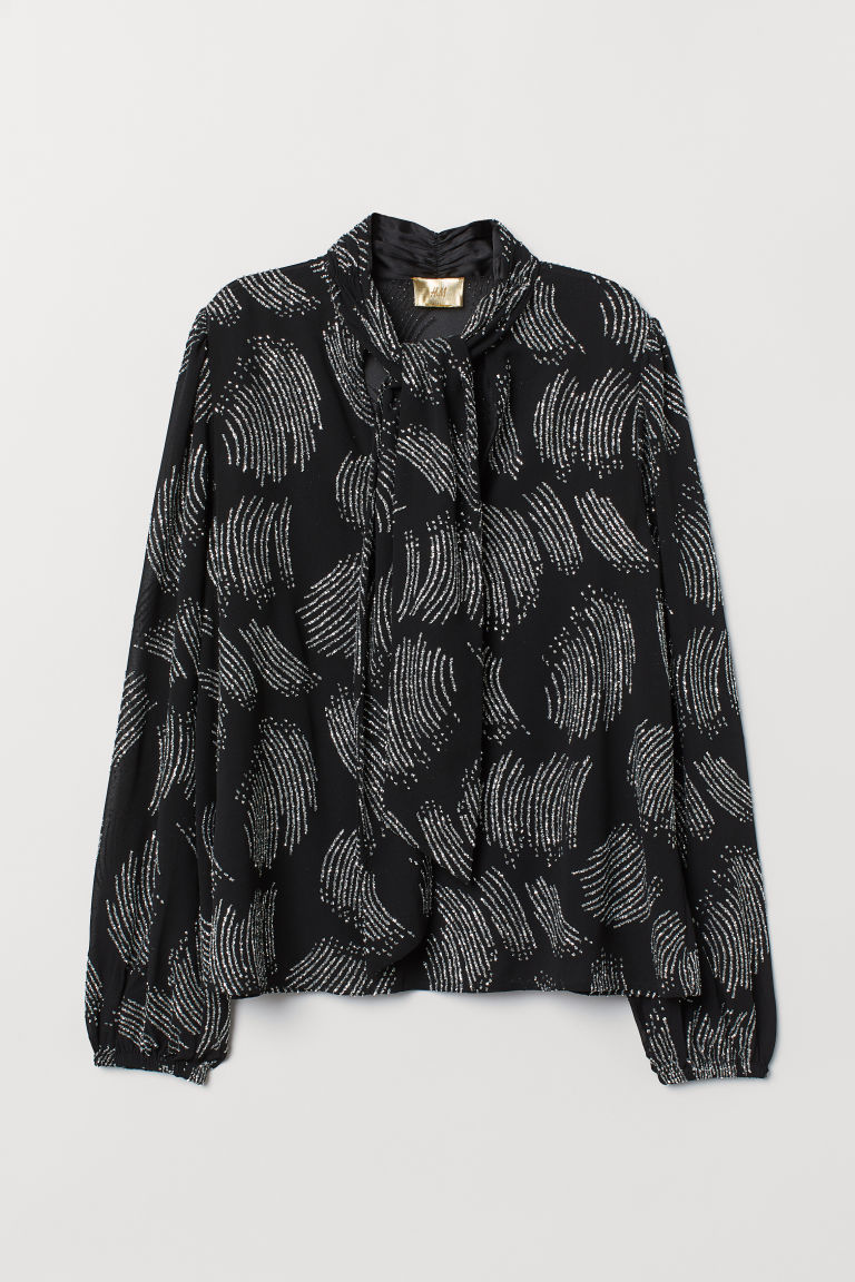 Pussy-bow blouse with sequins - Black/Glitter -  | H&M CN