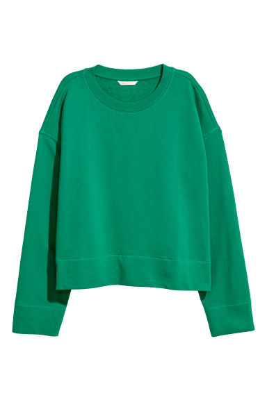 Wide cotton top - Green - Ladies | H&M