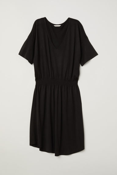 Jersey dress with smocking - Black - Ladies | H&M CN