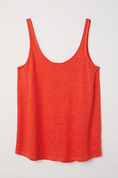 Linen jersey vest top - Bright red -  | H&M CN