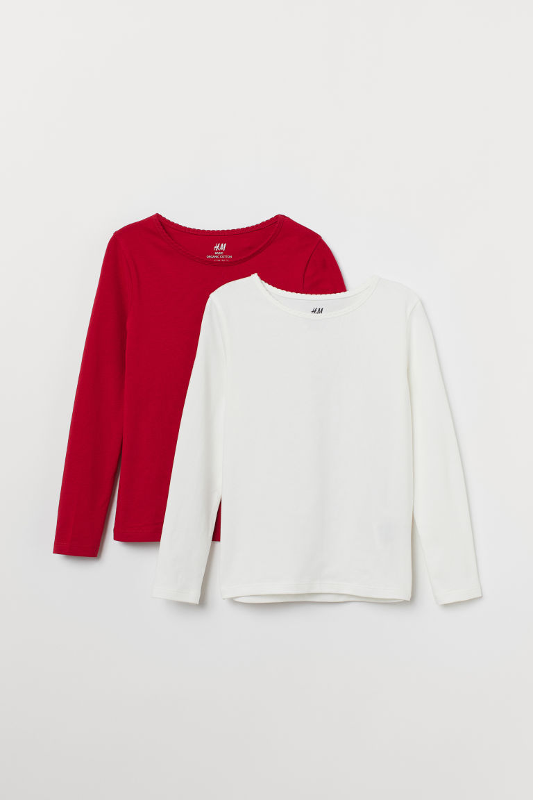 2-pack long-sleeved tops - Red/White - Kids | H&M IN