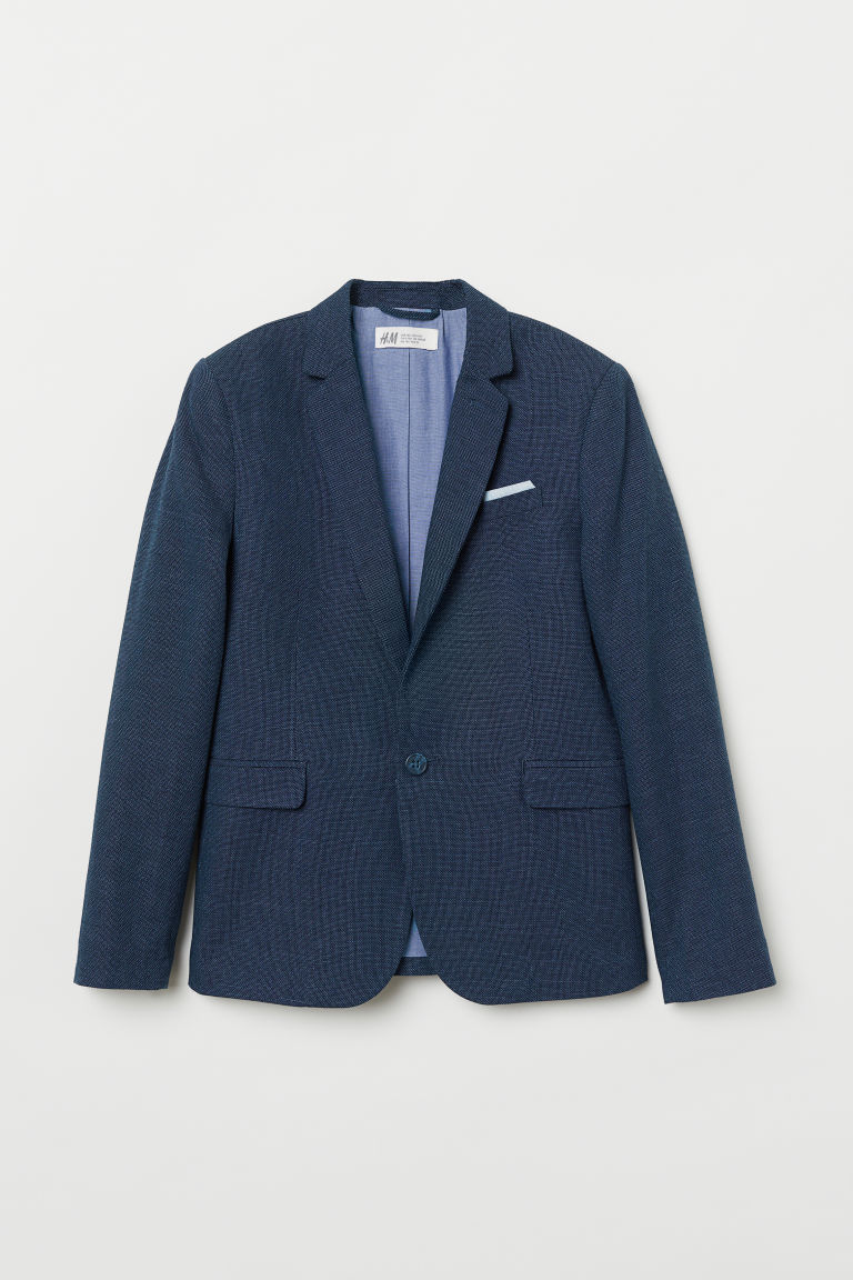 Textured-weave jacket - Navy blue - Kids | H&M