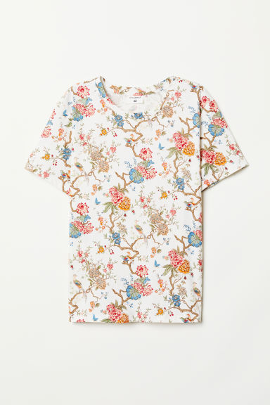 T-shirt with a motif - Cream/Floral - Ladies | H&M CN