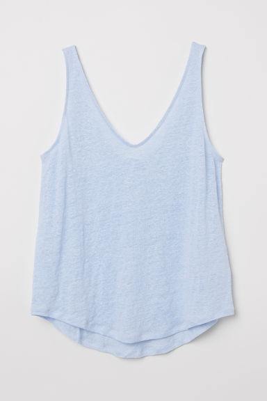 Linen jersey vest top - Light blue - Ladies | H&M CN