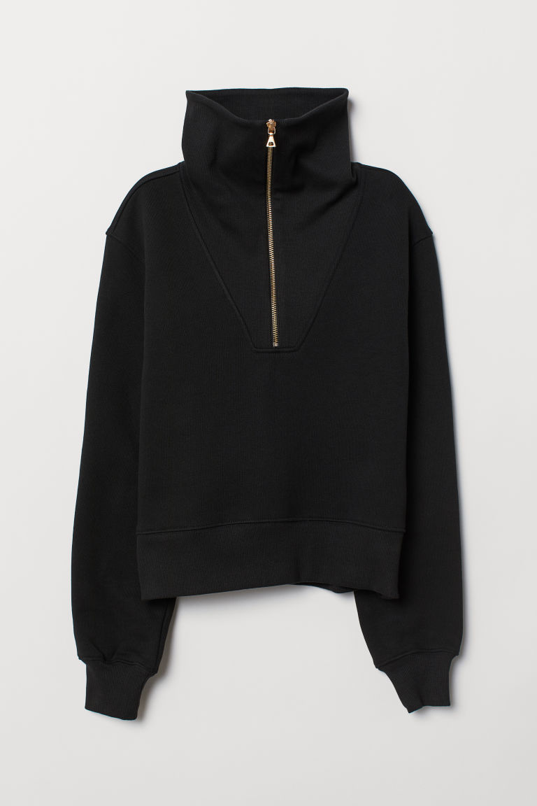 Sweatshirt with a zip - Black - Ladies | H&M