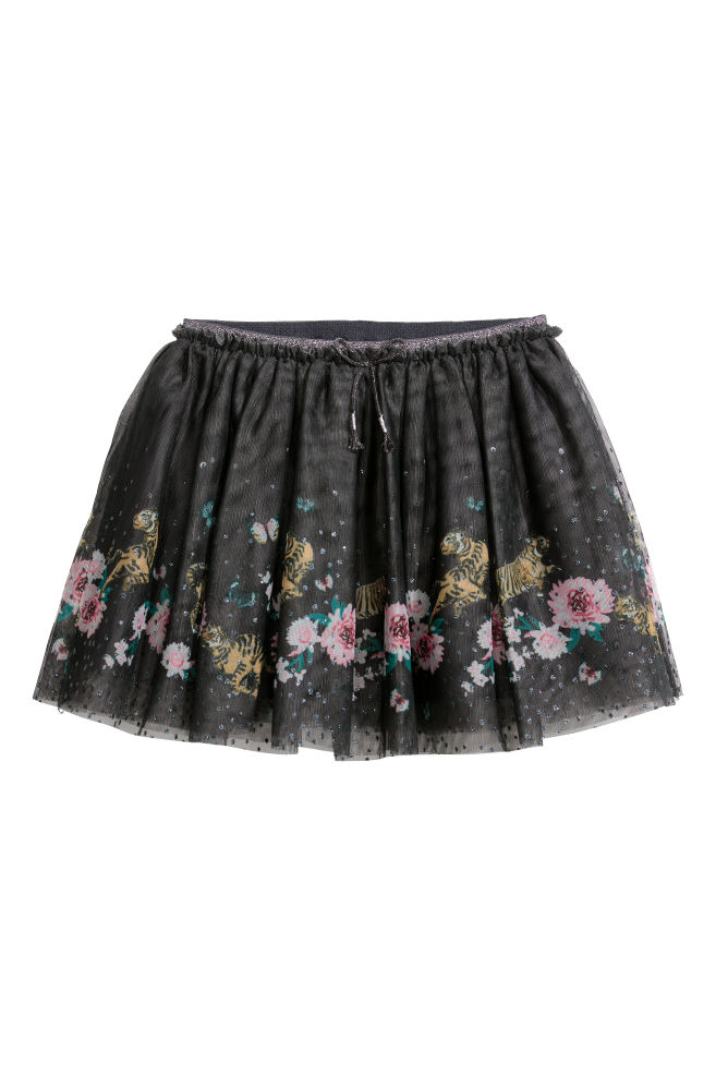 1dc5e30d1 Glittery tulle skirt - Dark grey/Flowers - Kids | H&M ...