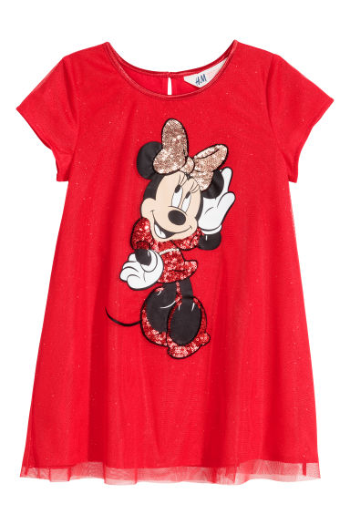 Glittery tulle dress - Bright red/Minnie Mouse -  | H&M CN