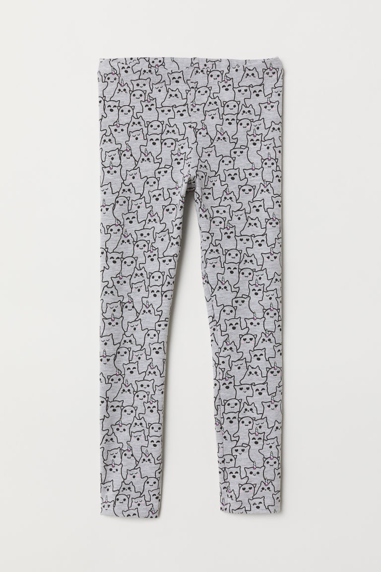 Patterned jersey leggings - Grey marl/Ghosts -  | H&M CN