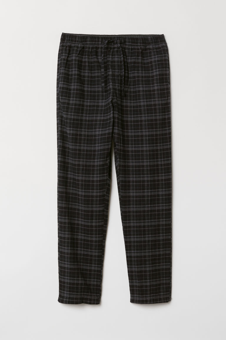 Flannel pyjama bottoms - Black/Grey checked - Men | H&M