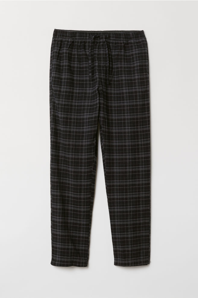 3a77d2a15ff38e Flanelowe spodnie piżamowe - Czarny/Szara krata - ON | H&M ...