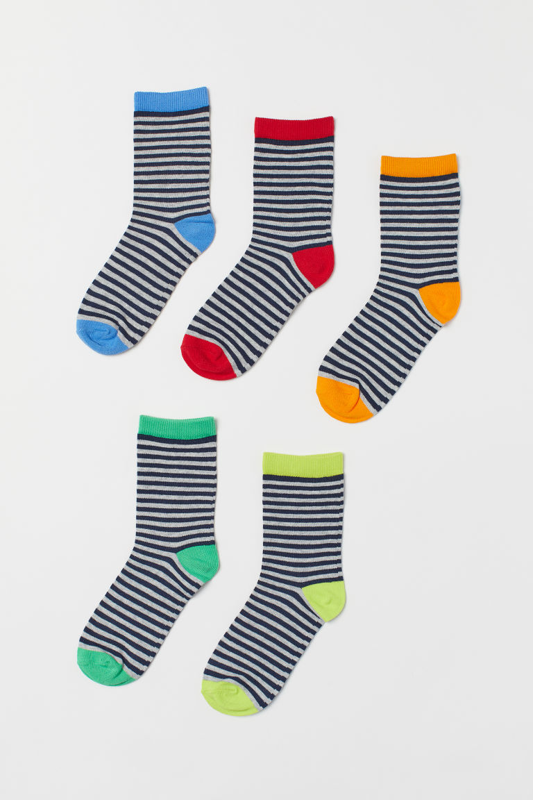 5-pack socks - Grey striped/Multicoloured - Kids | H&M IE