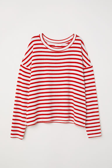 Fine-knit jumper - White/Red striped - Ladies | H&M