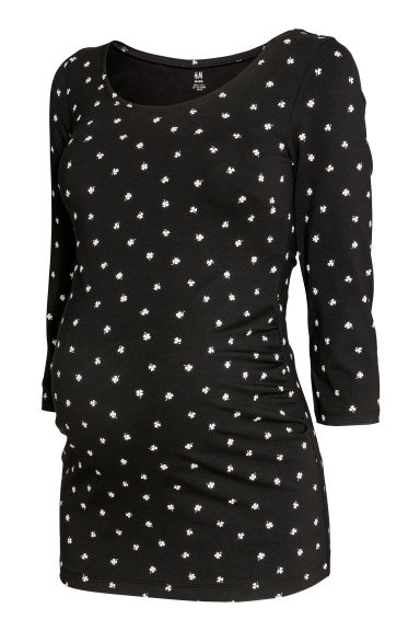 MAMA Jersey top - Black/Four-leaf clover -  | H&M IE