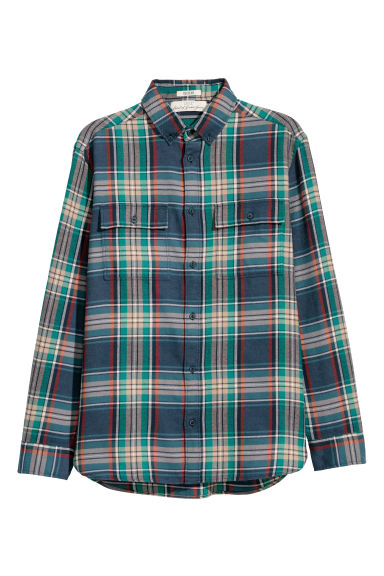 Flannel shirt Regular fit - Dark blue/Checked - Men | H&M