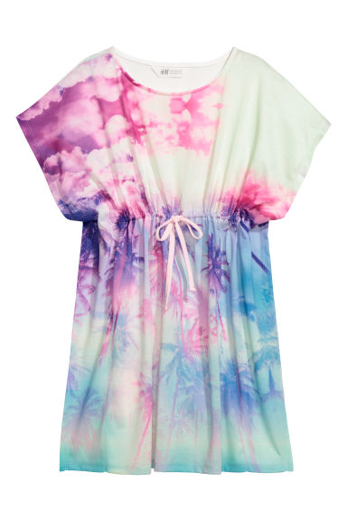 Dress with a drawstring - White/Palm trees -  | H&M CN