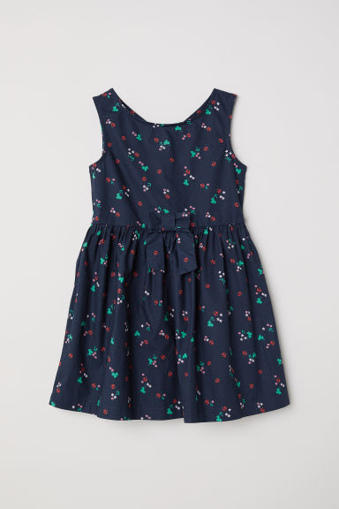 Patterned cotton dress - Dark blue/Floral -  | H&M