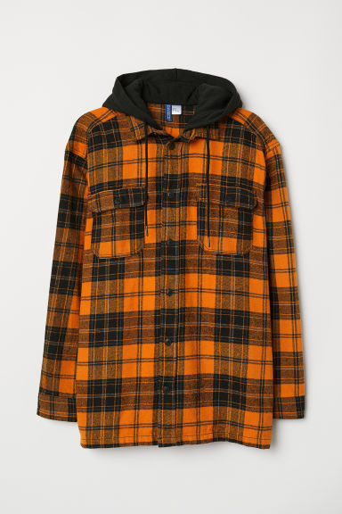 Hooded flannel shirt - Orange/Checked - Men | H&M