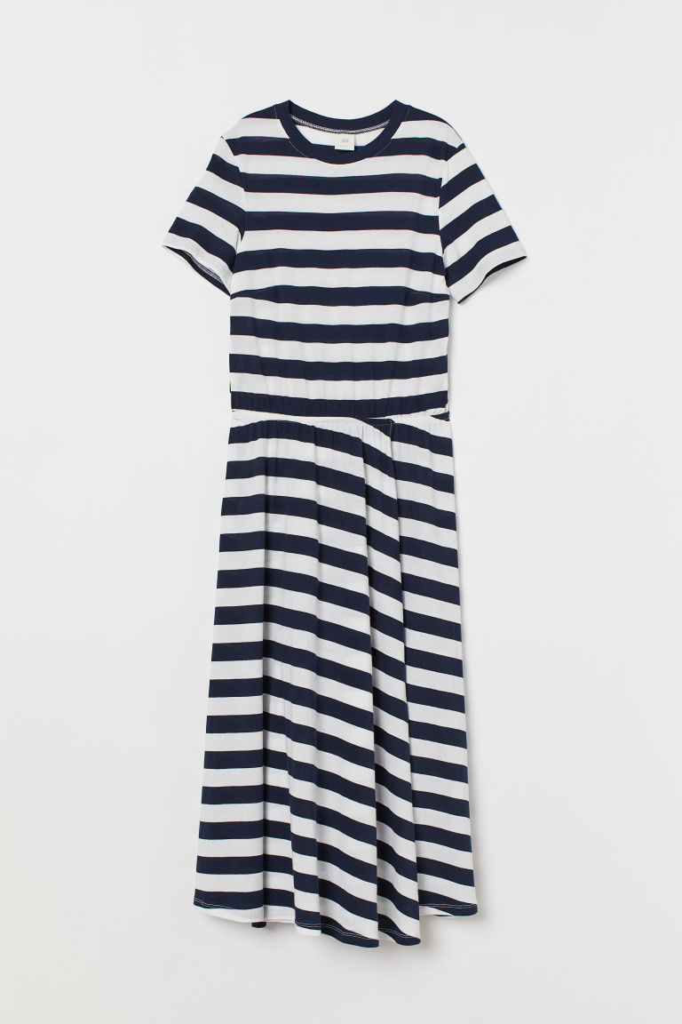 Jersey wrap dress - Dark blue/White striped - Ladies | H&M