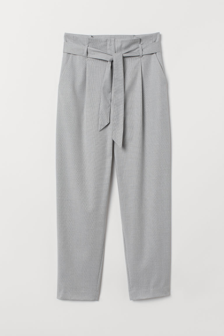 Paper bag trousers - Light grey - Ladies | H&M CN