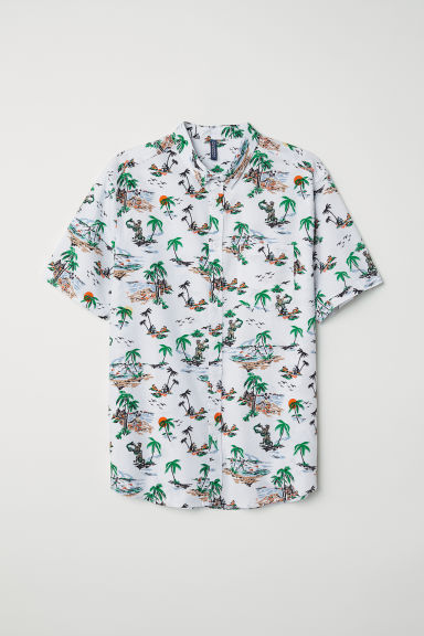 Patterned cotton shirt - White/Patterned - Men | H&M IE