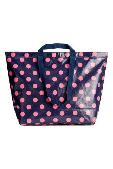 Large shopper - Dark blue/Pink spotted -  | H&M