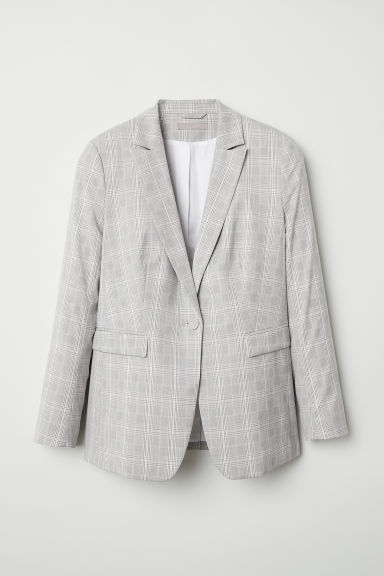 H&M+ Pattern-weave Jacket - Light gray/checked - Ladies | H&M US
