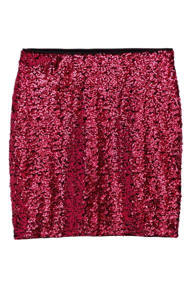 Glittery skirt - Dark pink/Sequins -  | H&M