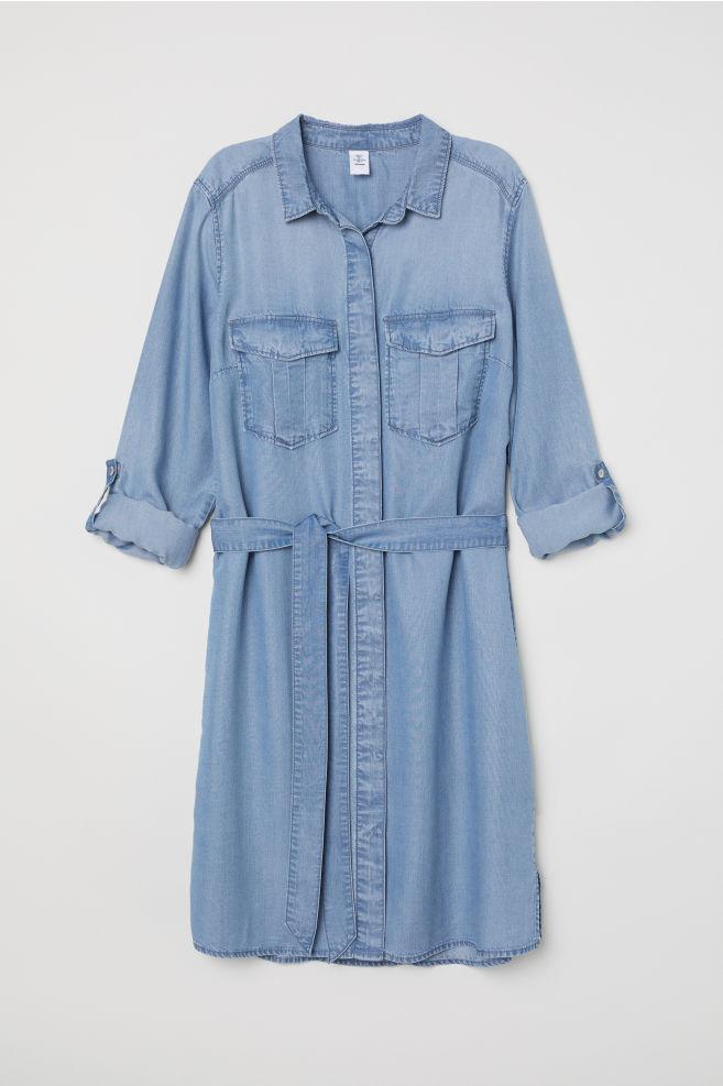 d58087f570ab Džínsové košeľové šaty - džínsovomodrá -