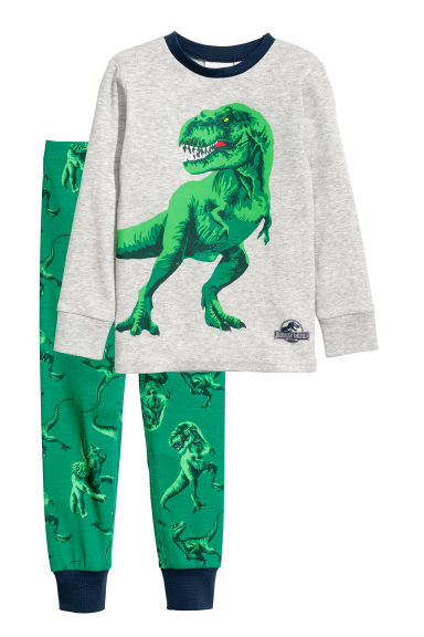 Jersey pyjamas - Grey/Jurassic World - Kids | H&M
