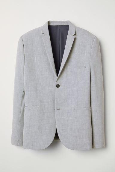 Jacket Super skinny fit - Light grey marl - Men | H&M