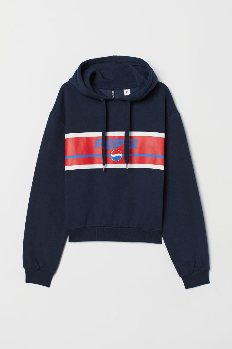 Hooded top with a motif - Dark blue/Pepsi -  | H&M CN