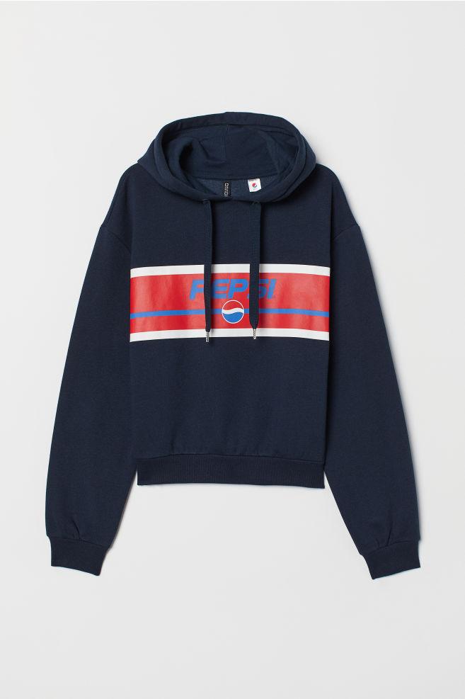 2d323dd9a Hooded Sweatshirt with Motif - Dark blue/Pepsi -   H&M ...