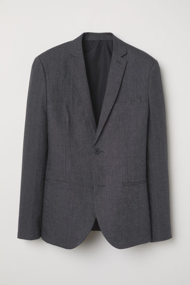 Linen jacket Slim Fit - Dark grey marl - Men | H&M