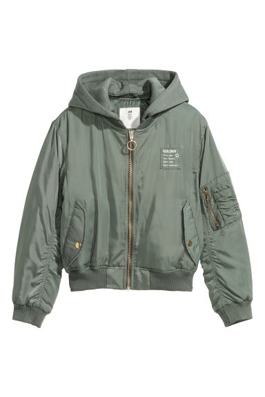Hooded bomber jacket - Khaki green - Kids | H&M