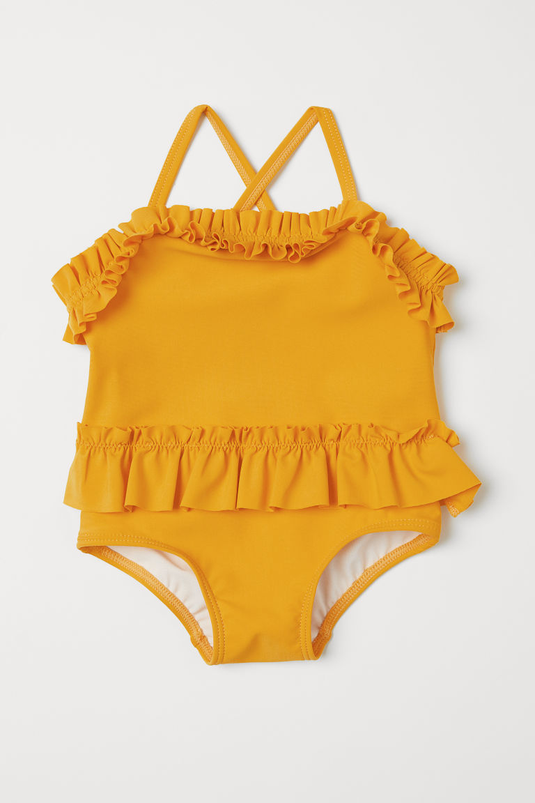 Frilled swimsuit - Yellow - Kids | H&M