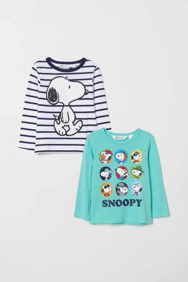 2-pack printed tops - Striped/Snoopy - Kids | H&M