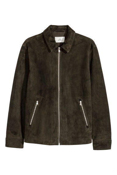 Suede shirt jacket - Dark khaki green -  | H&M