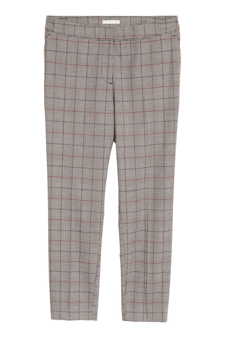 Suit trousers - Grey/Dogtooth-patterned - Ladies | H&M GB