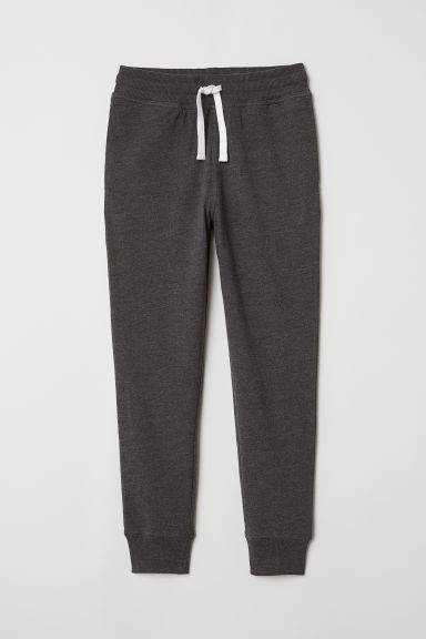 Cotton Jersey Joggers - Dark gray melange - Kids | H&M CA